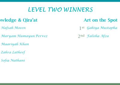 Level 2 Winners